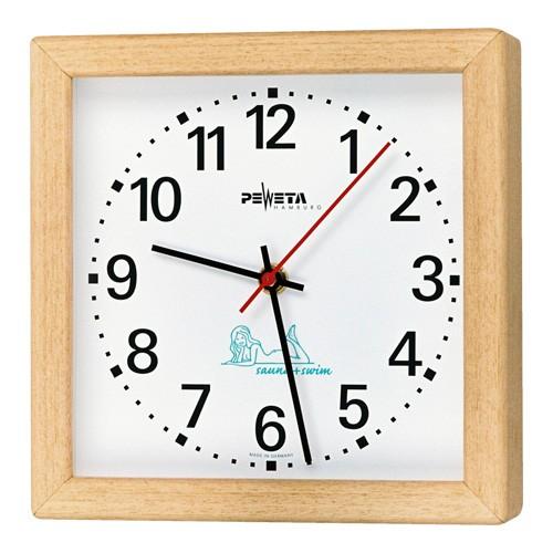 Sauna-Uhr, quadratisch, Ayous-Holzgehäuse