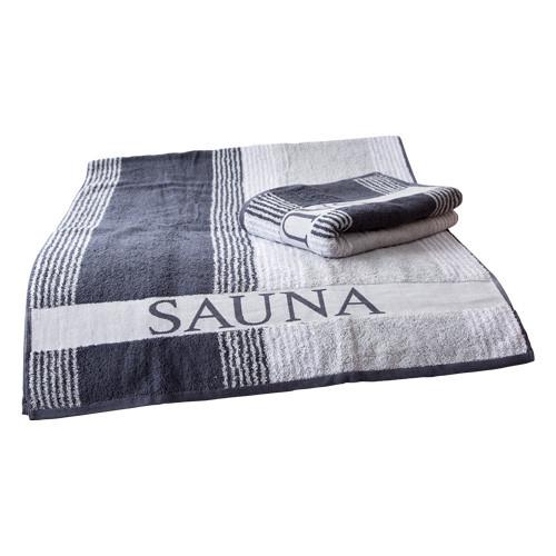 Saunatuch ca. 80 x 200 cm anthrazit/weiß/grau