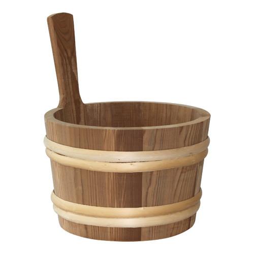 Sauna-Kübel 6 l, wärmebehandelt mit Griffdaube