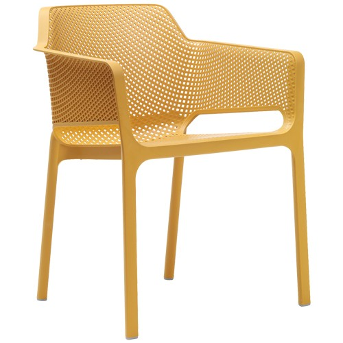 Stuhl Net, stapelbar - Farbe: senf