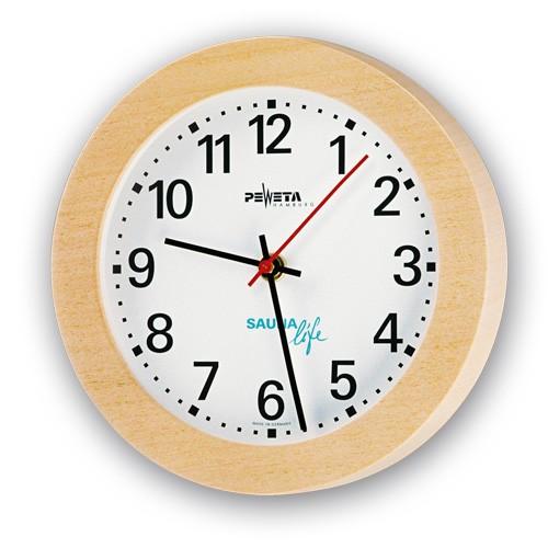 Sauna-Uhr, rund, Ayous-Holzgehäuse, Ø 220 mm