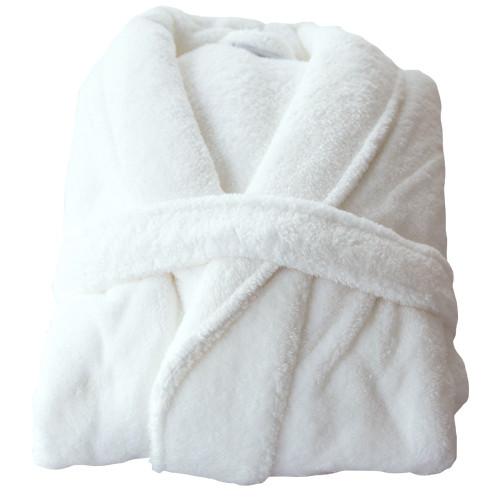 Sauna-Mantel Teddy-Plüsch weiß Gr.XL